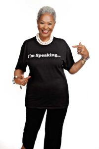 """Paulette Roby wearing a t-shirt that says """"I'm Speaking."""""""